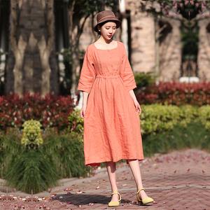纯色棉麻中长裙大码显瘦气质文艺淑女打底百褶中袖夏季宽松连衣裙