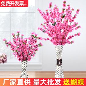 仿真桃花枝假樱花腊梅花塑料花干花娟花假树造景落地摆件室内装饰