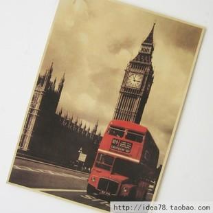 Лондон, Биг-Бен - Красный автобус, старинные плакаты рекламные плакаты бар декоративной живописи 42 * 30см