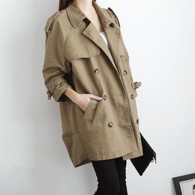 宽松休闲中长款 新 韩版 女装 款 双排扣风衣女大衣外套春秋潮 2020春季