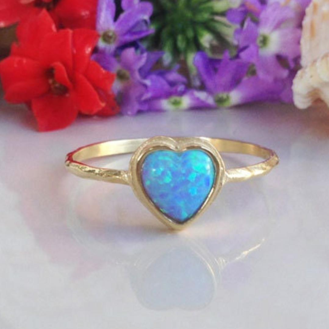 代购订制戒指小众纯手工制作蓝色心形蛋白石S925纯银锤纹指环女