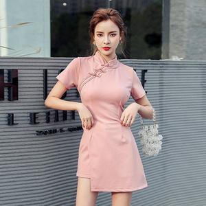 YF26560# 夏新款复古风洋气御姐范改良旗袍上衣短裤气质两件套装