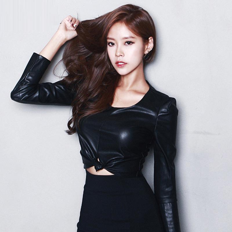 皮衣女春装2019新款韩版修身百搭显瘦长袖短款上衣pu皮衣女