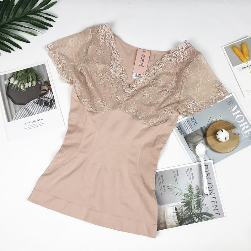 依米色蕾丝短袖收腹修身打底女秋冬性感时尚塑身显瘦内搭贴身上衣