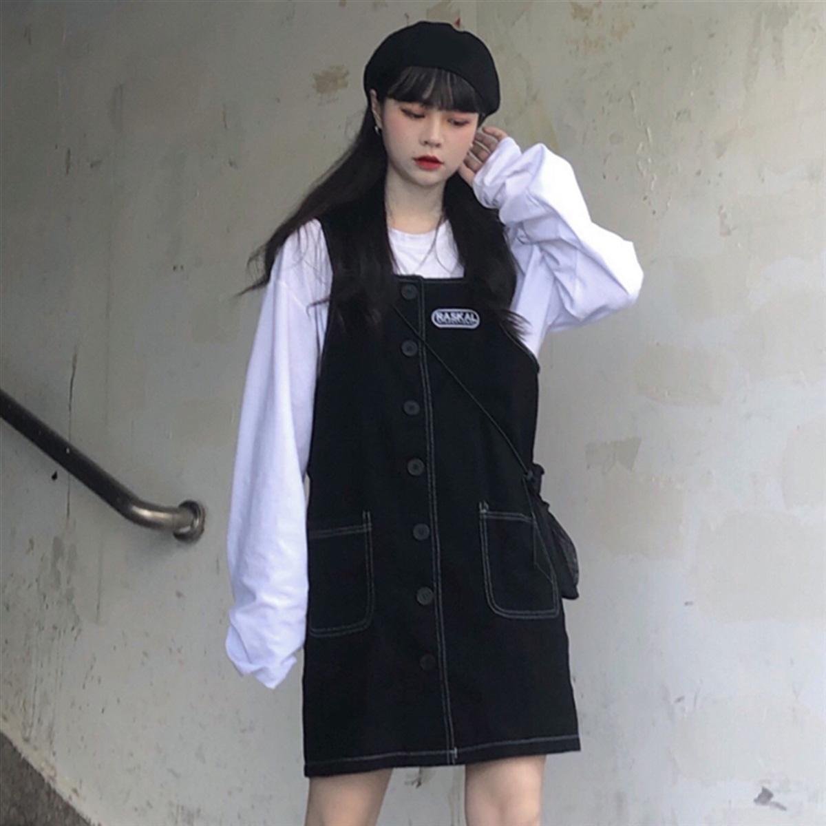 (用0.049999999999997元券)韩国chic秋冬韩版学院风字母背带裙