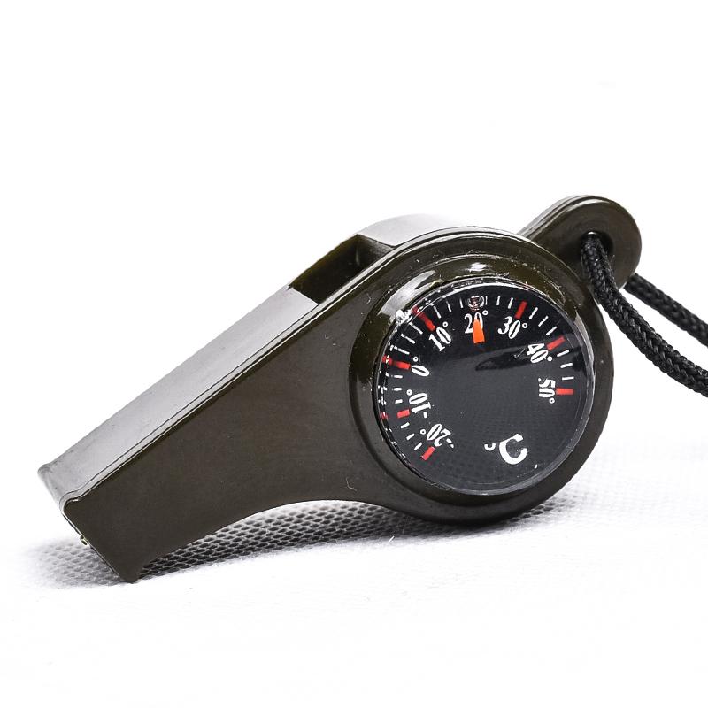 户外多功能求生口哨子三合一指南针救生哨温度计便携高频哨带挂绳