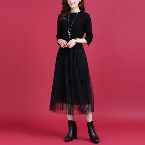 秋冬新品百褶网纱拼接羊毛针织连衣裙女气质蕾丝裙修身中长款裙子