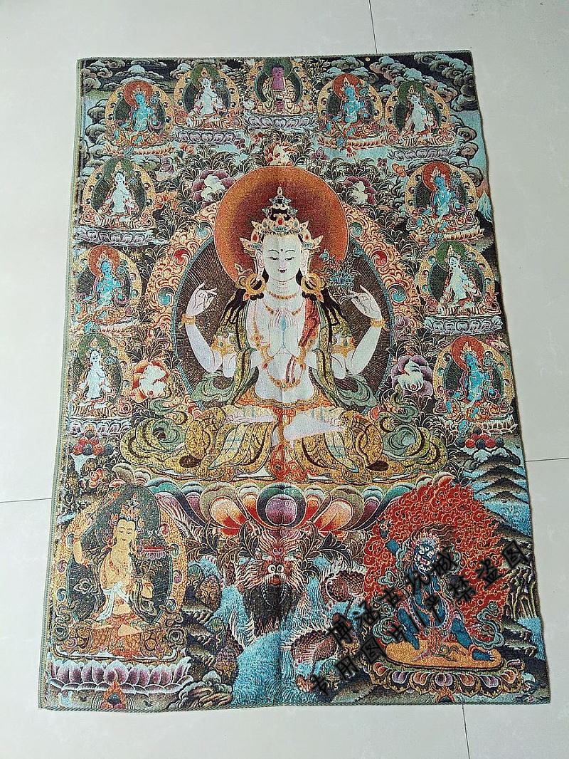 Бесплатная доставка по китаю Тибетский Будда Портрет Непальской Тханкинской Партии Картина Шелковый Вышитый Четырехугольник Гуаньинь Тханька Вышивка