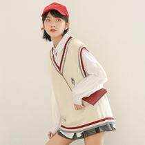2020韩版新款学院风bf马甲女背心V领学生百搭针织毛衣外套女马夹