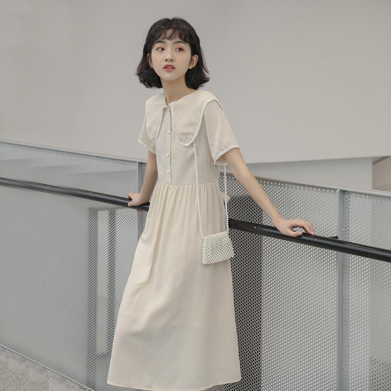 迪悠2019夏季新款韩版chic连衣裙女学生甜美珍珠娃娃领高腰长裙子