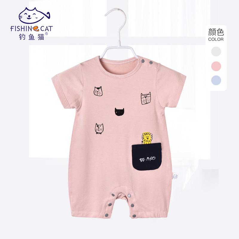 夏-12个月宝宝短袖夏季莱卡连体衣