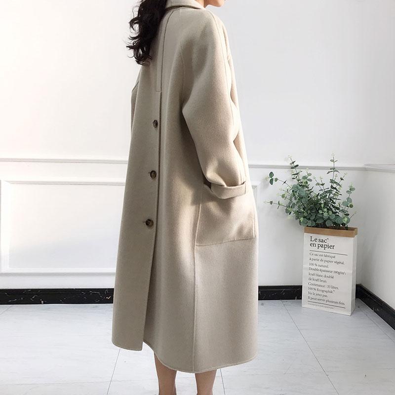 双面羊绒大衣女中长款2018新款秋冬季韩国高端宽松千鸟格毛呢外套
