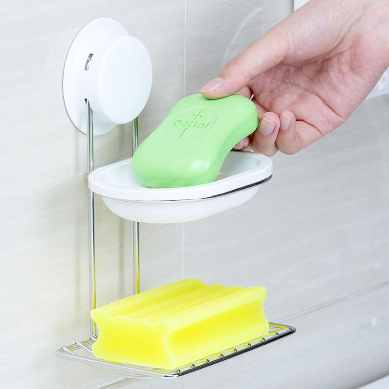 嘉宝吸盘壁挂双层不锈钢架香皂盒