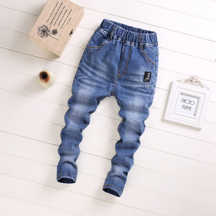 Boys clothing spring and autumn new childrens elastic slim fitting jeans middle and large childrens clothing summer thin small foot long pants students