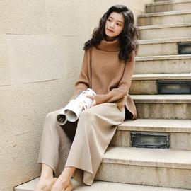 成熟套装女新款女神时尚显瘦高领毛衣阔腿裤两件套慵懒风温柔秋冬