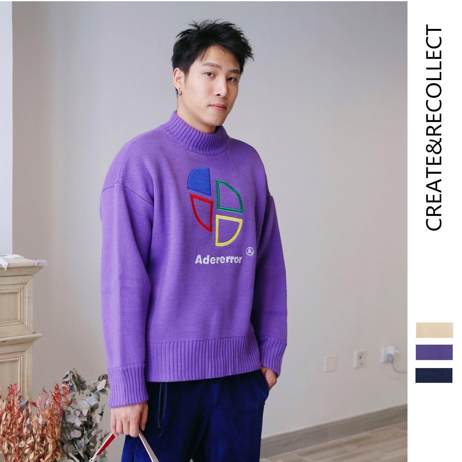CR / 19 autumn and winter new couple half high collar loose sweater mens and womens embroidered colorful fan-shaped pattern T-shirt