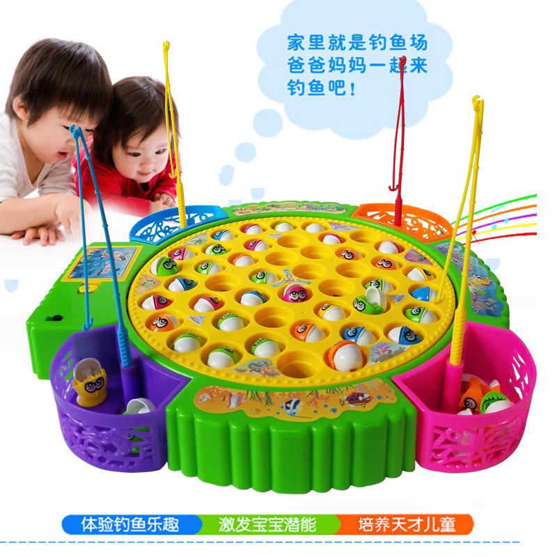 儿童电动钓鱼玩具女童男孩宝宝早教小孩子益智力1-2-3-4-5-6周岁7