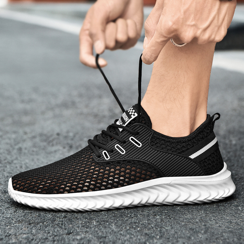 Mens shoes summer breathable large size pure black thin mesh low top mesh hollow leisure sports net shoes mens fashion shoes