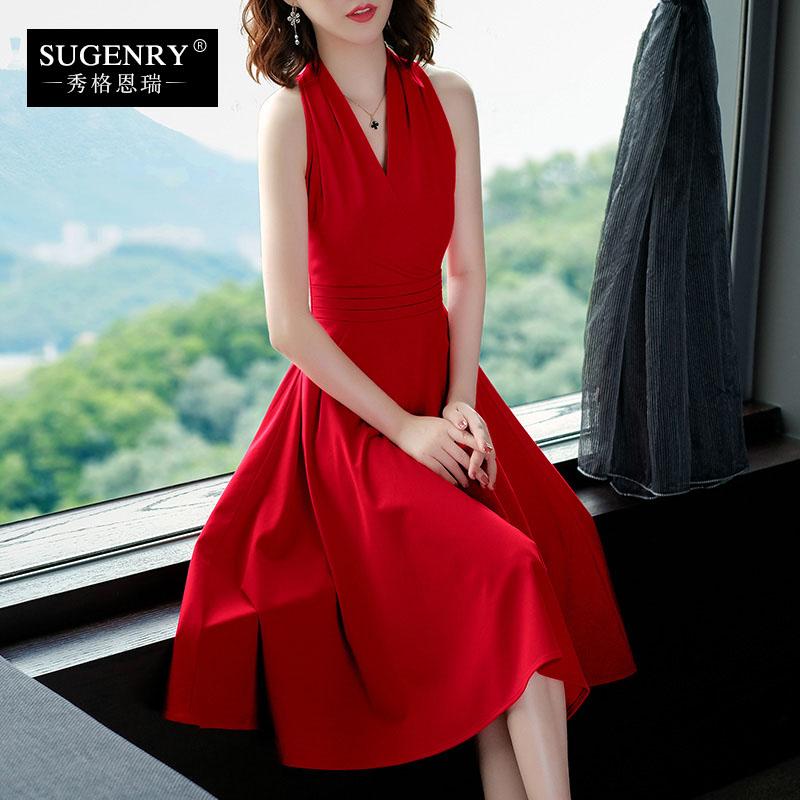 红色2019流行裙子夏季新款女装赫本风无袖修身气质性感v领连衣裙