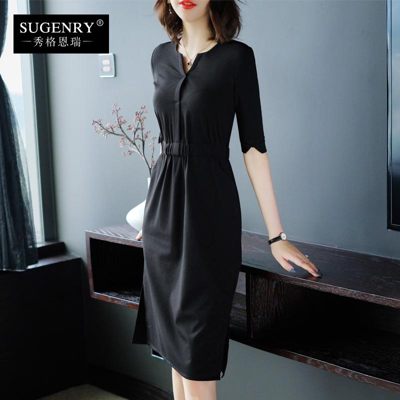 黑色中袖连衣裙秋装2019女一步裙子满199元可用30元优惠券