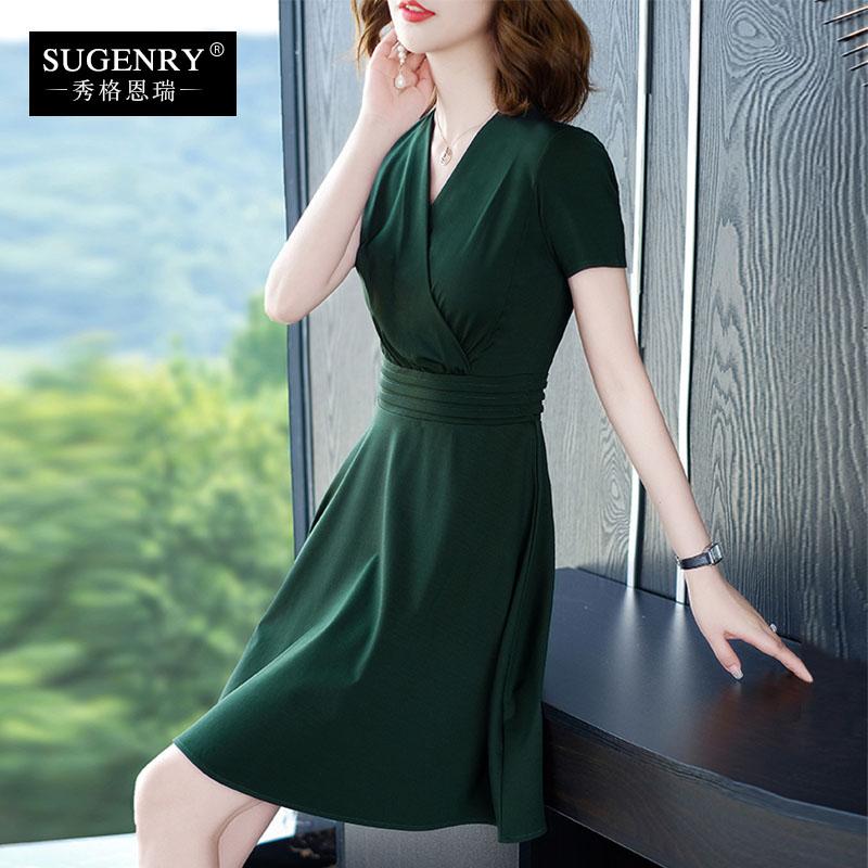 夏季2021新款连衣裙墨绿色短袖显瘦大码开v领赫本风小黑裙子女装