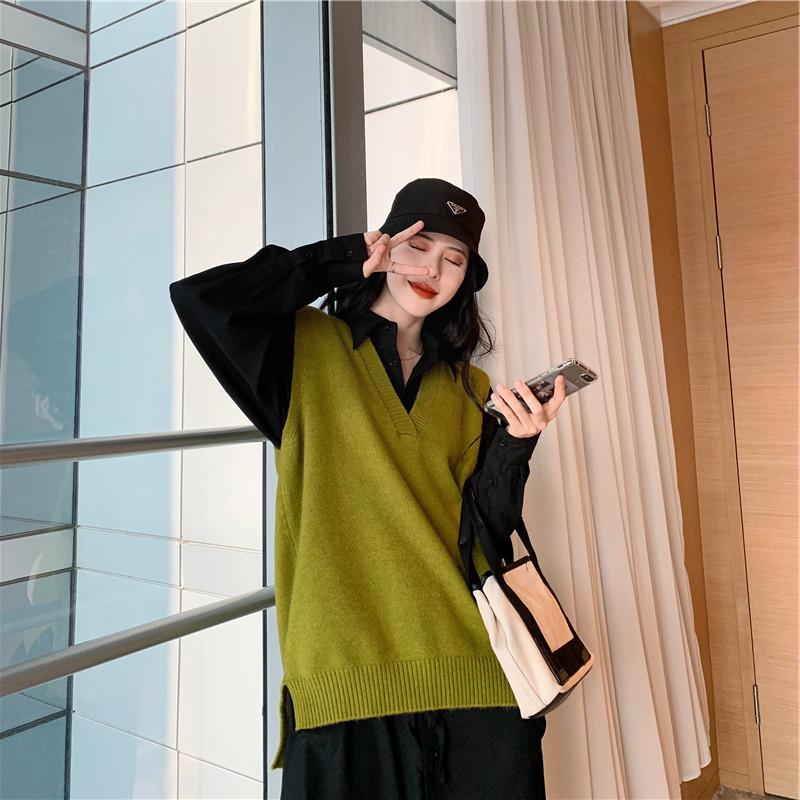 12-01新券大码女装秋装新款显瘦宽松马甲毛衣胖妹妹网红洋气连衣裙两件套