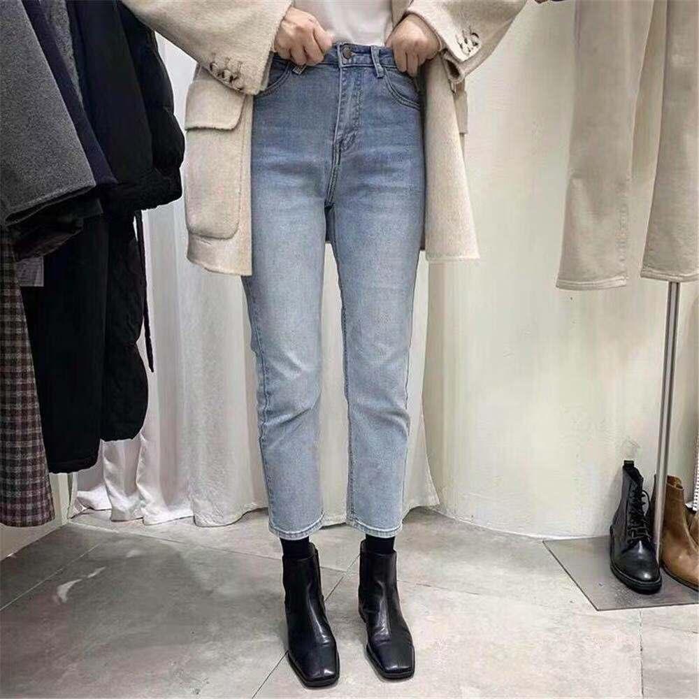 2019widelia韓國新款秋冬高腰顯瘦直筒九分煙管褲淺藍色牛仔褲女