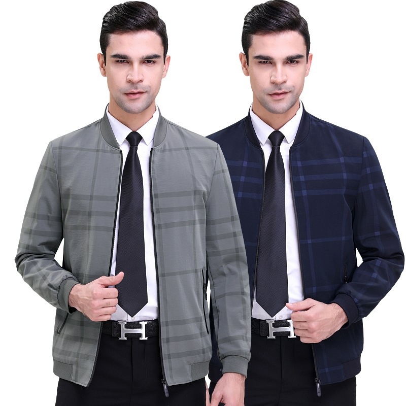 Spring and autumn middle aged and old mens striped business leisure stand collar jacket, youth popular long sleeve