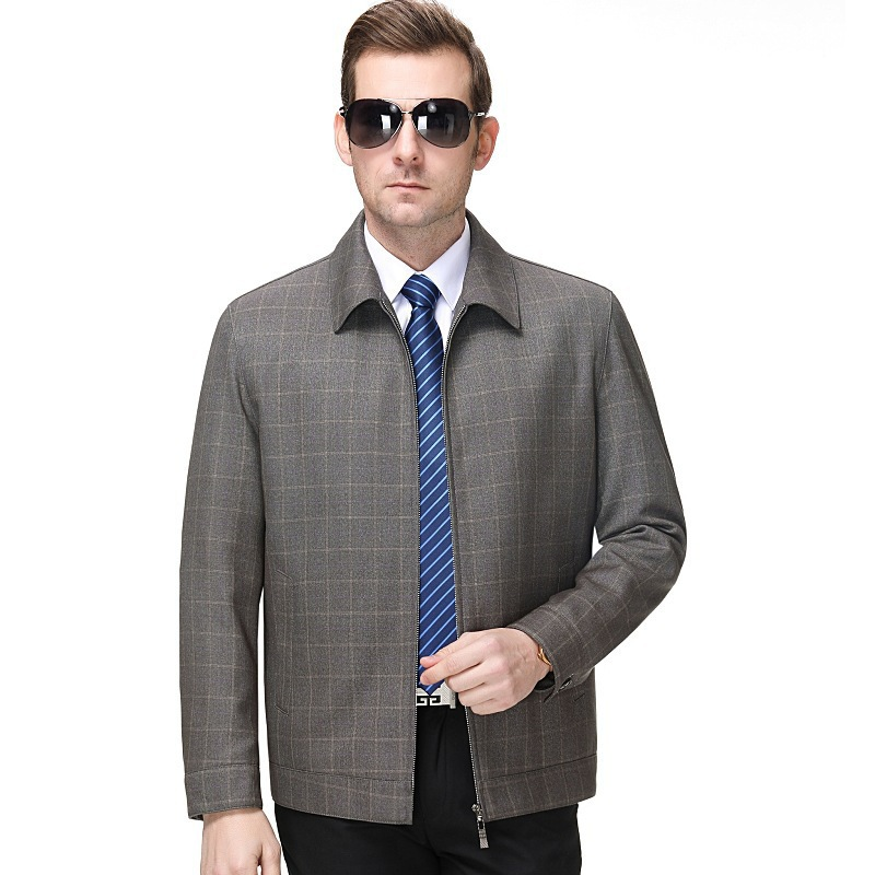 Promotion fashion leisure spring and autumn mens jacket lapel Wool Plaid boutique jacket one hair long sleeve