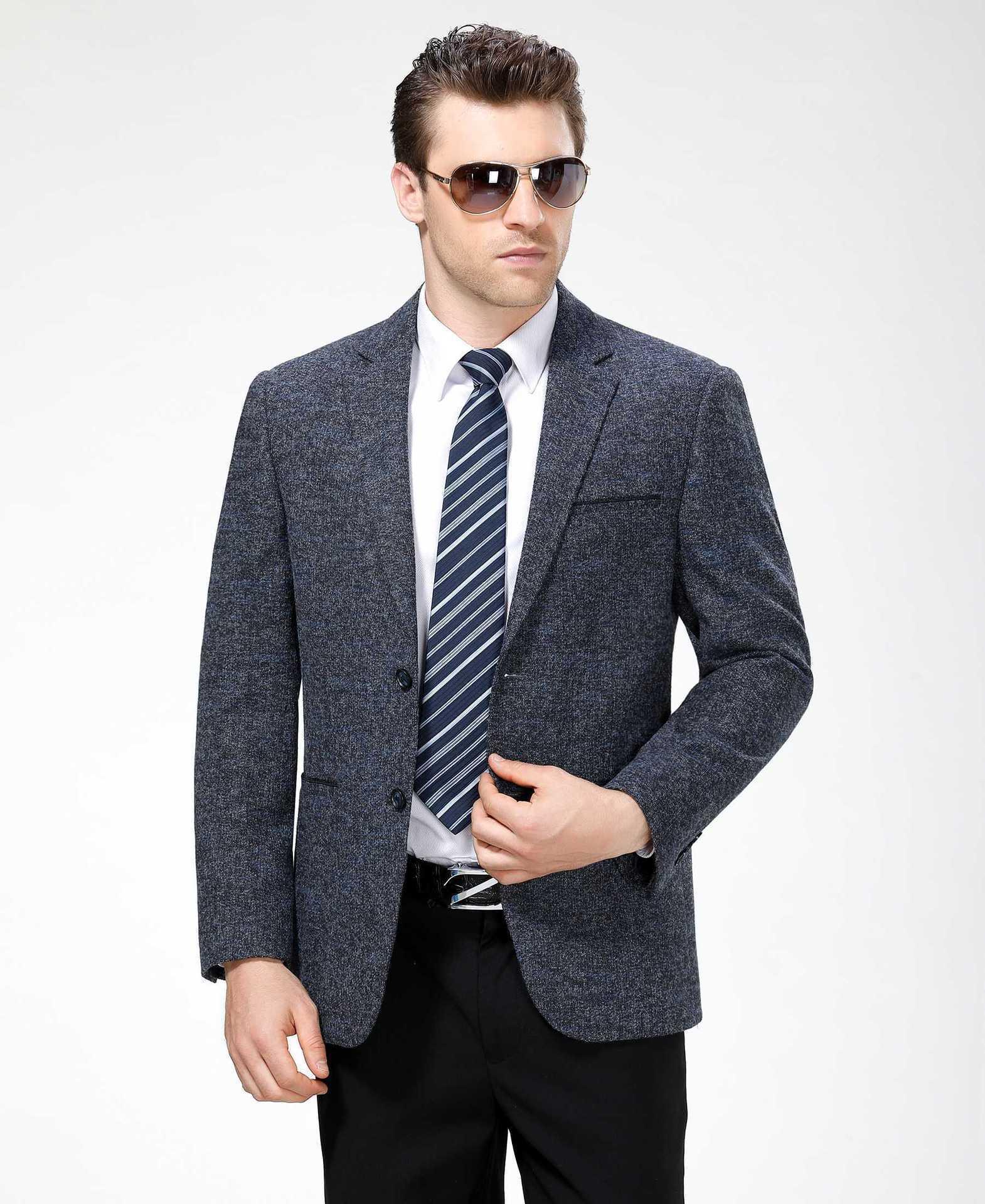 秋冬男士西服时尚休闲中年羊毛单西装精品外套一件代发一粒双排扣