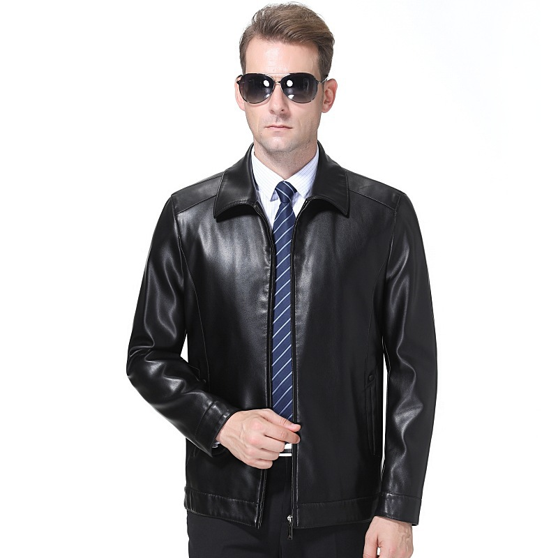 Haining leather garment mens regular high grade business leisure middle aged mens sheep leather jacket single coat zipper