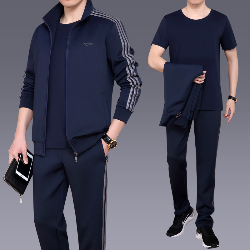 Spring and autumn middle-aged and elderly sports suit mens three piece set leisure sports middle-aged dads mens sportswear