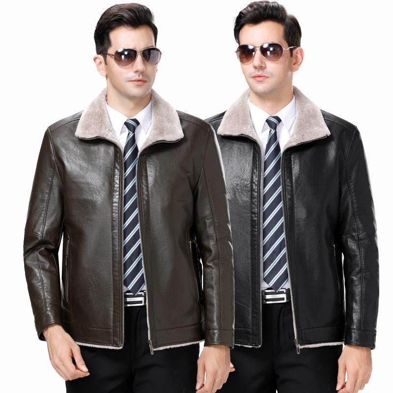 Leather jacket mens leather head leather antique trend leather coat Multi Pocket air force coat winter coat imitation leather coat