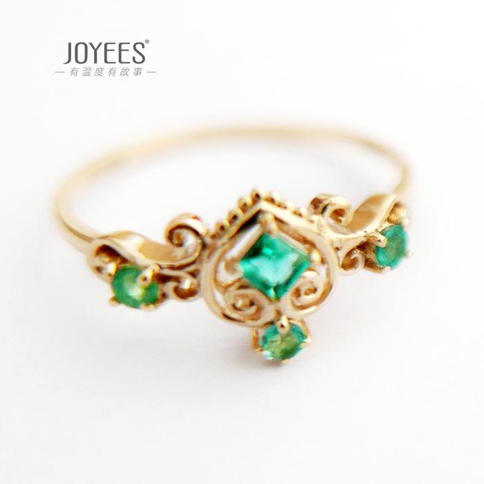 Joyees green shadow 18K Gold grandmother emerald ring womens New Retro Creative Design Ring Jewelry