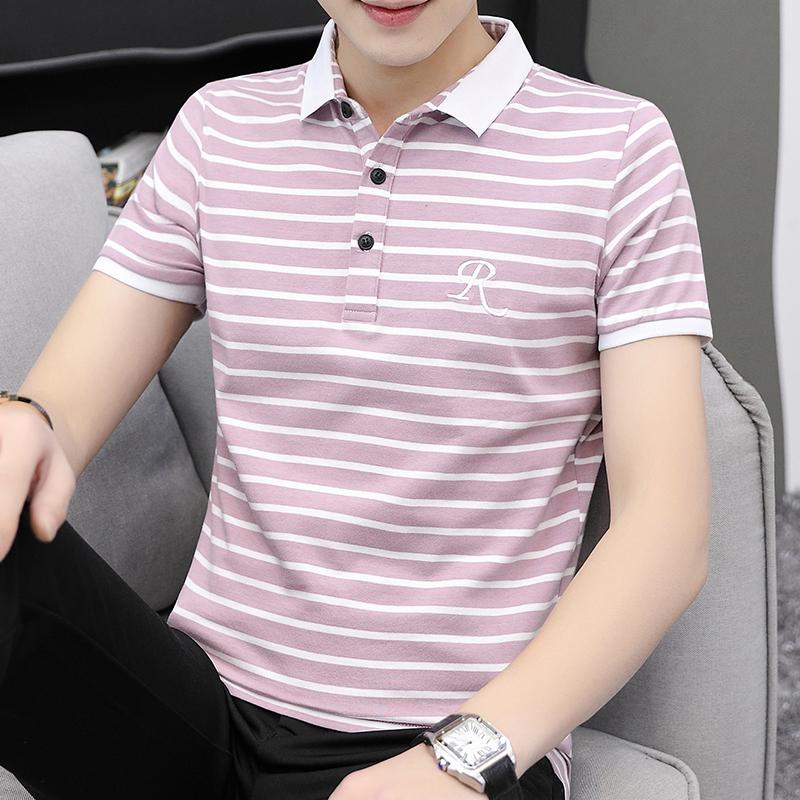 夏天纯棉短袖t恤男丅夏季新款潮流有领子条纹半袖男士翻领上衣土