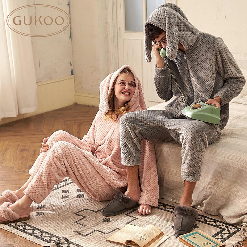 Gukoo/果壳睡衣秋冬季兔耳朵连体衣情侣家居服珊瑚绒厚款可爱卡通