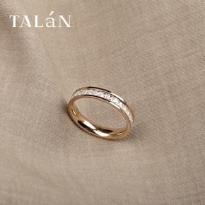 网红钛钢戒指女时尚个性ins潮食指指环冷淡风情侣戒素圈闺蜜女友