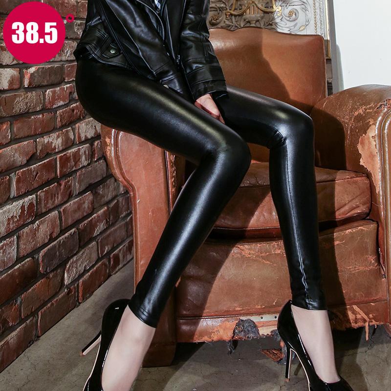 皮裤女2017新款高腰秋冬季外穿打底裤加绒加厚紧身黑色PU小脚裤子