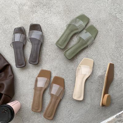透明凉拖鞋女外穿时尚2021夏季新款韩版一字带半拖鞋女粗跟沙滩鞋