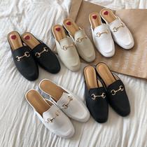 新款女士鞋子复古穆勒鞋2021千百度女鞋简约时尚低跟套脚单鞋
