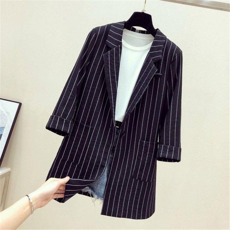 2021春夏新款宽松英伦范黑色条纹小西装外套女中长款薄款休闲西服