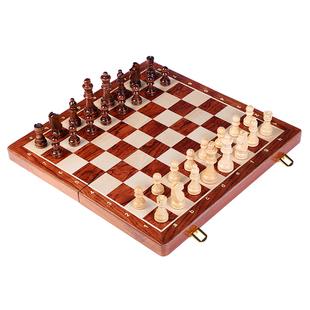 木质国际象棋大号儿童成人套装 折叠棋盘益智桌面游戏西洋棋比赛