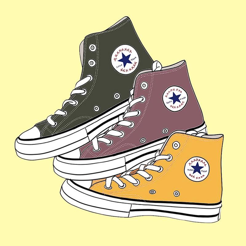 1970s 三星标帆布鞋黄色高帮低帮男女鞋余文乐休闲鞋子豆沙卡其色