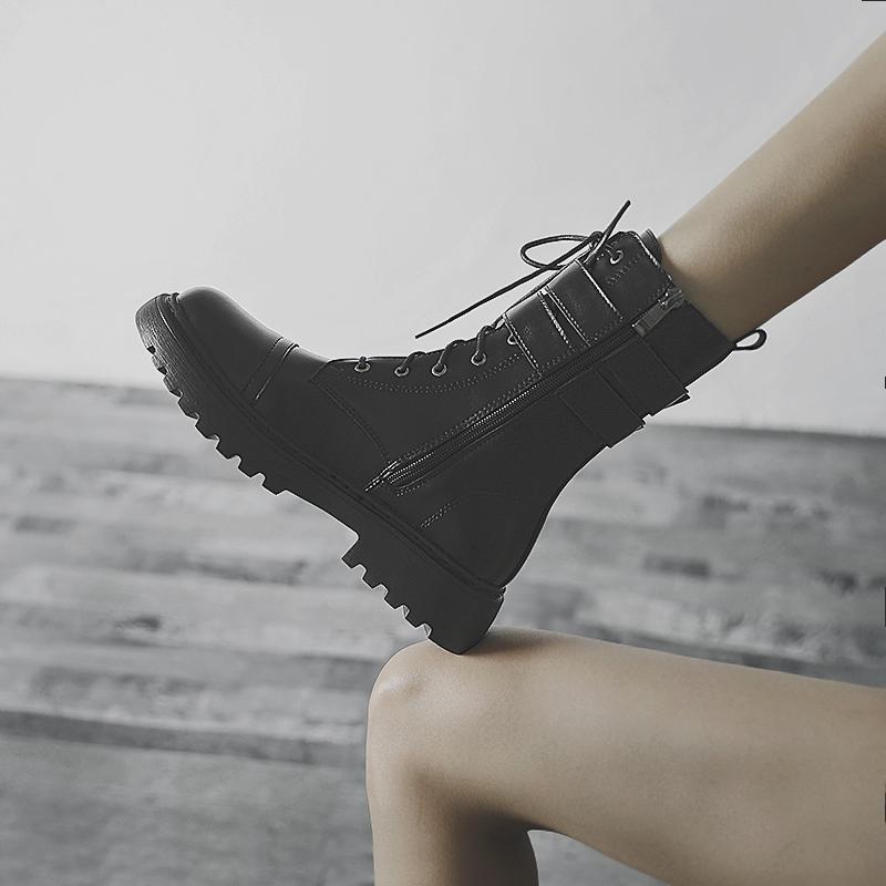 真皮短靴ins年新款英伦风中筒靴子女潮2020黑色马丁靴女春秋单靴