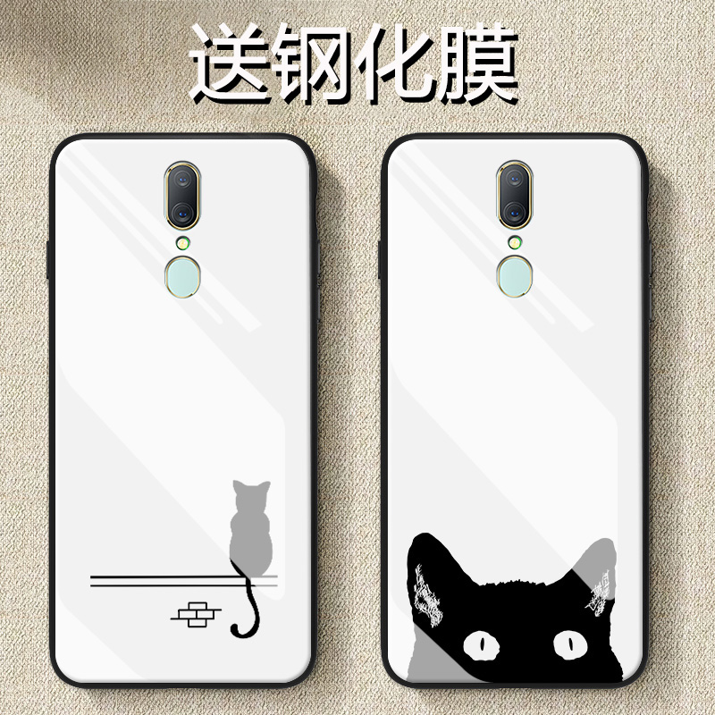 oppoa9手机壳a9x玻璃镜面简约a7卡通a7x影子猫a5个性a3创意保护套满36.00元可用17.2元优惠券