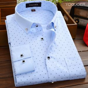 衬衫男长袖春秋款白衬衣男士商务正装休闲条纹印花男装修身免烫寸