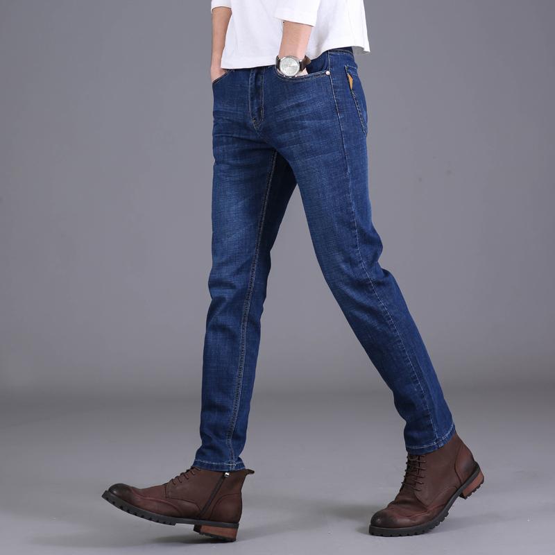 夏季牛仔裤男弹力直筒宽松长裤青年潮流男士修身百搭休闲裤子男