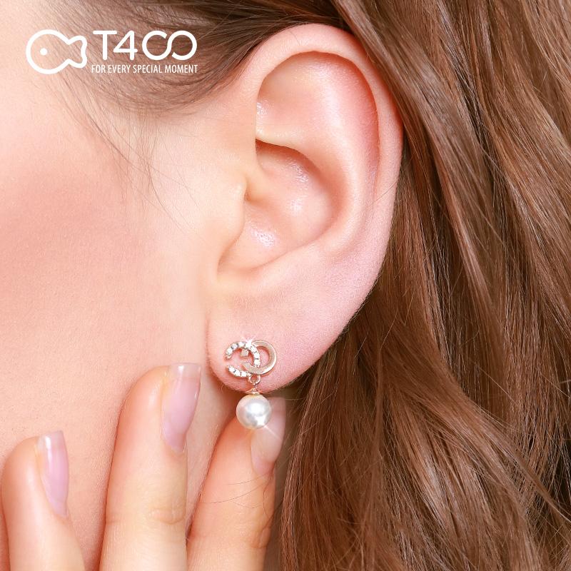 双C珍珠耳环女气质纯银耳坠2019新款潮高级感法式网红小香风耳钉