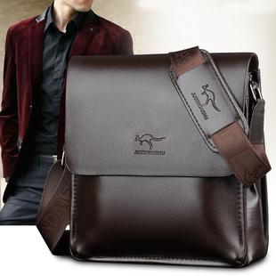 巨森袋鼠真皮竖款单肩包男斜挎包公文包商务休闲男士包包牛皮背包
