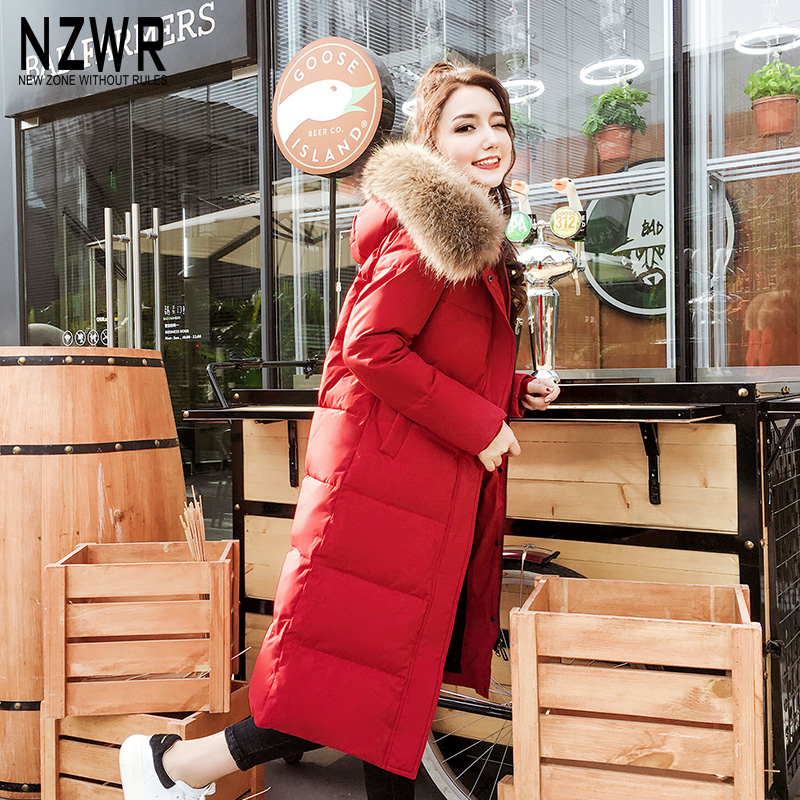 Down jacket womens middle and long 2019 new Korean fashion long style long over the knee thickened slim hair collar hood winter